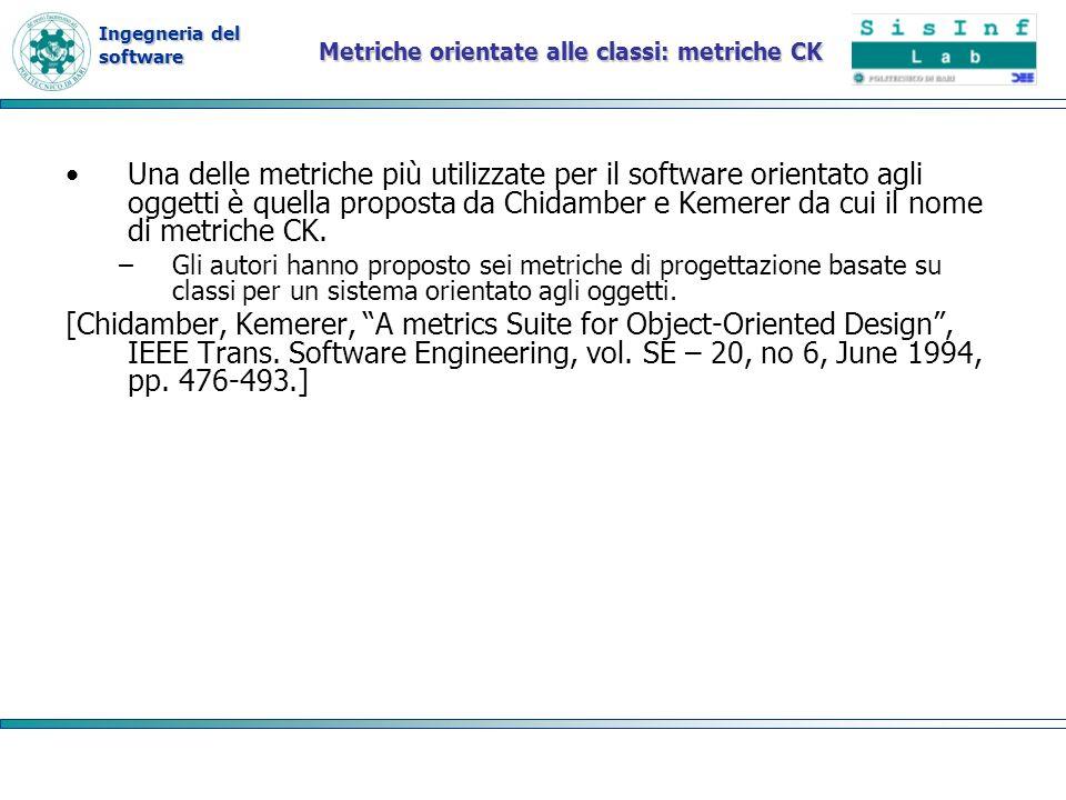 Ingegneria del software Metriche orientate alle classi: metriche CK Una delle metriche più utilizzate per il software orientato agli oggetti è quella