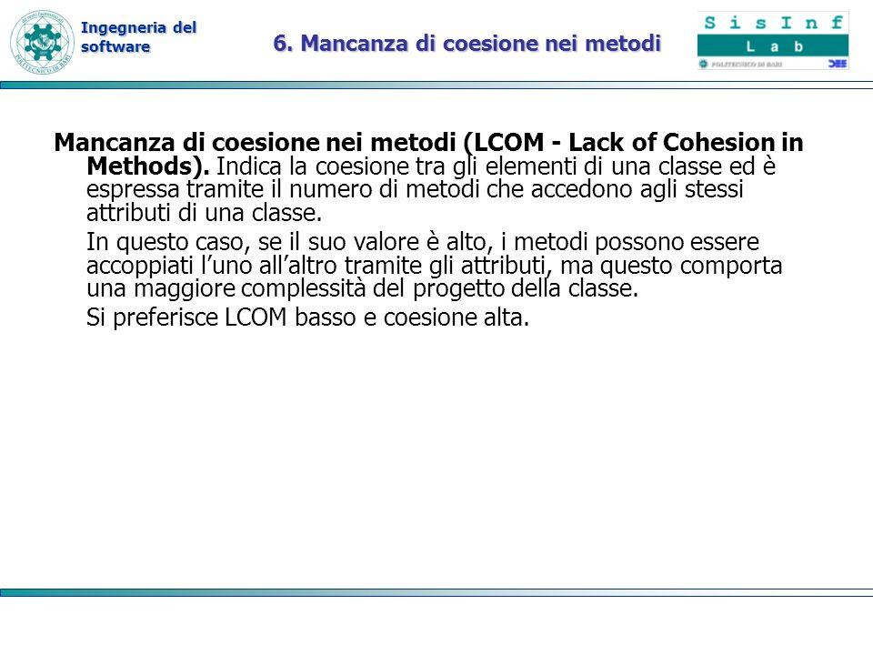 Ingegneria del software 6. Mancanza di coesione nei metodi Mancanza di coesione nei metodi (LCOM - Lack of Cohesion in Methods). Indica la coesione tr