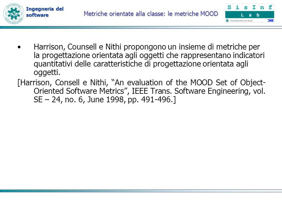 Ingegneria del software Metriche orientate alla classe: le metriche MOOD Harrison, Counsell e Nithi propongono un insieme di metriche per la progettaz