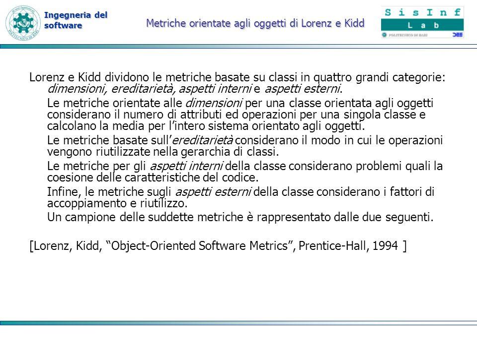 Ingegneria del software Metriche orientate agli oggetti di Lorenz e Kidd Lorenz e Kidd dividono le metriche basate su classi in quattro grandi categor