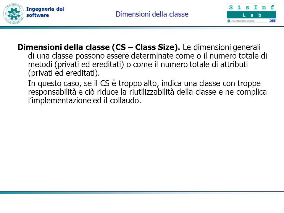 Ingegneria del software Dimensioni della classe Dimensioni della classe (CS – Class Size). Le dimensioni generali di una classe possono essere determi