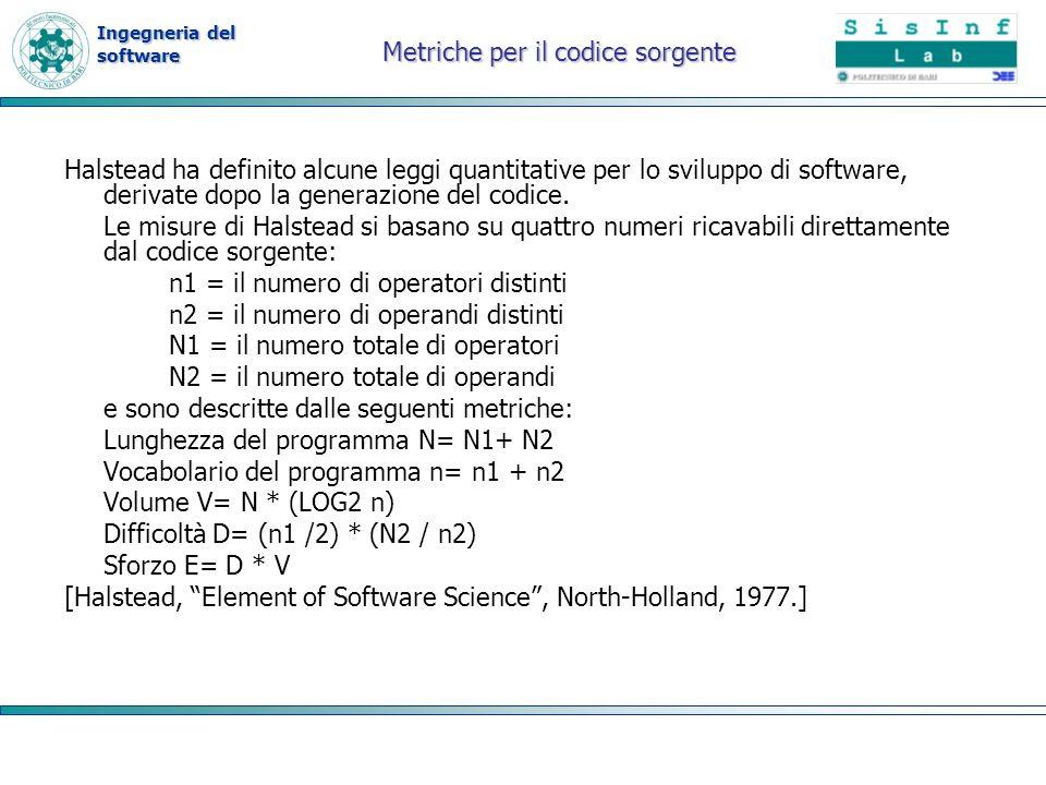 Ingegneria del software Metriche per il codice sorgente Halstead ha definito alcune leggi quantitative per lo sviluppo di software, derivate dopo la g