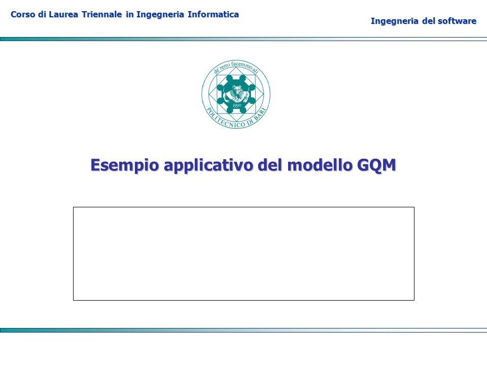 Corso di Laurea Triennale in Ingegneria Informatica Ingegneria del software Esempio applicativo del modello GQM
