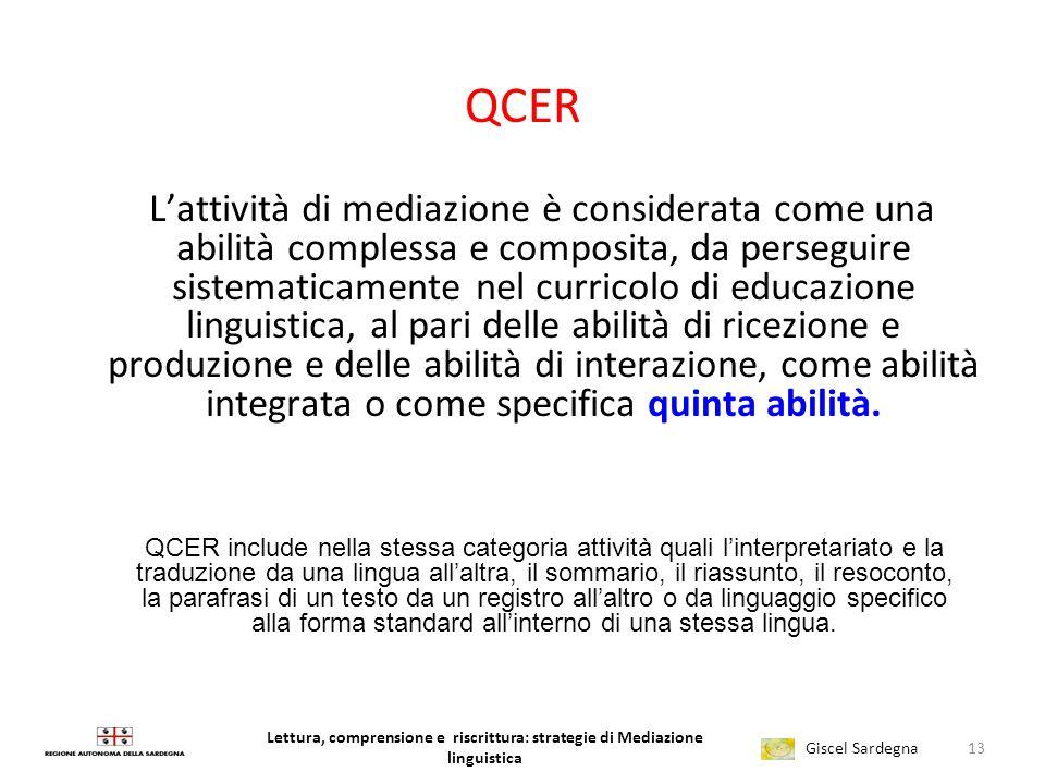 Lettura, comprensione e riscrittura: strategie di Mediazione linguistica Giscel Sardegna LEGGERE SCRIVERE nelle Nuove Indicazioni qualche esempio per
