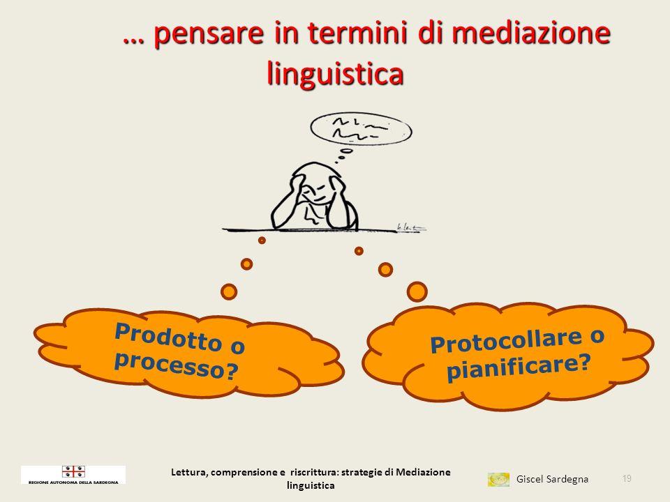 Lettura, comprensione e riscrittura: strategie di Mediazione linguistica Giscel Sardegna Confronto e discussione 18 Per riscrivere quanto è importante