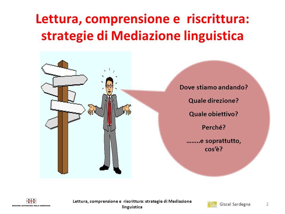 Lettura, comprensione e riscrittura: strategie di Mediazione linguistica Giscel Sardegna Lettura, comprensione e riscrittura: strategie di Mediazione linguistica 2 Dove stiamo andando.