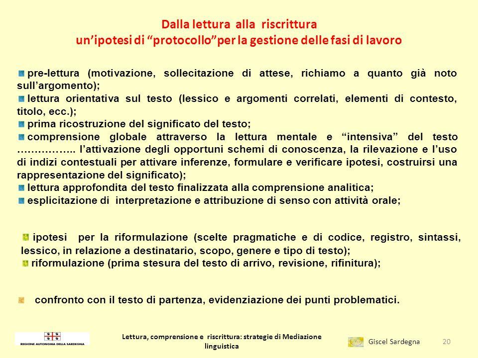 Lettura, comprensione e riscrittura: strategie di Mediazione linguistica Giscel Sardegna … pensare in termini di mediazione linguistica … pensare in t