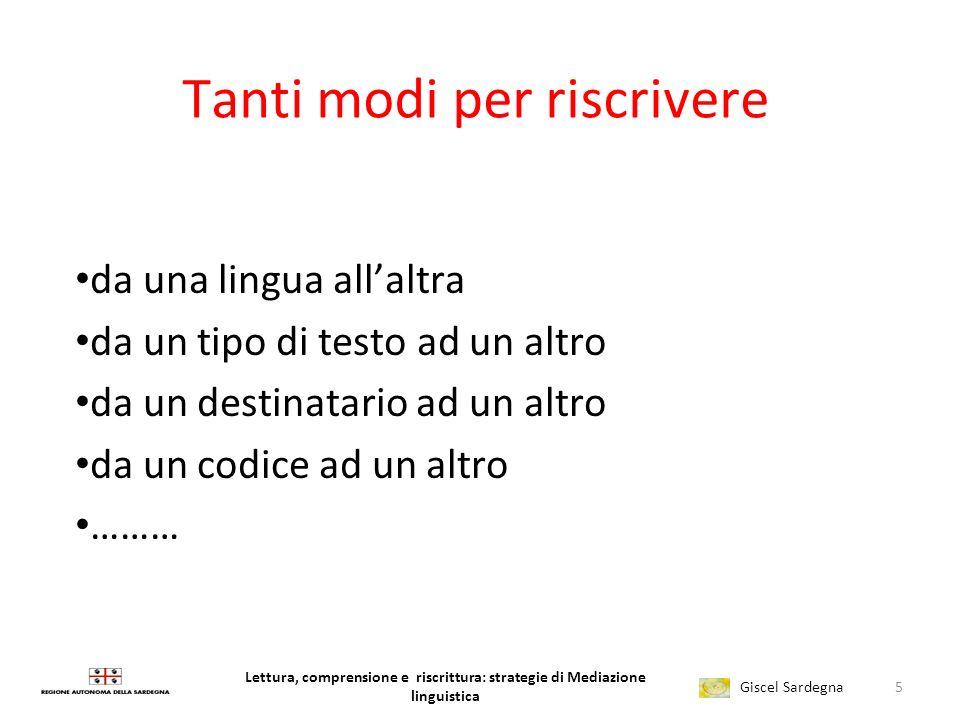 Lettura, comprensione e riscrittura: strategie di Mediazione linguistica Giscel Sardegna 1.
