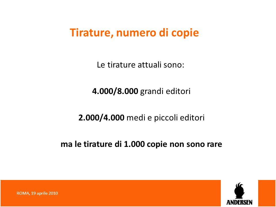 Tirature, numero di copie Le tirature attuali sono: 4.000/8.000 grandi editori 2.000/4.000 medi e piccoli editori ma le tirature di 1.000 copie non so