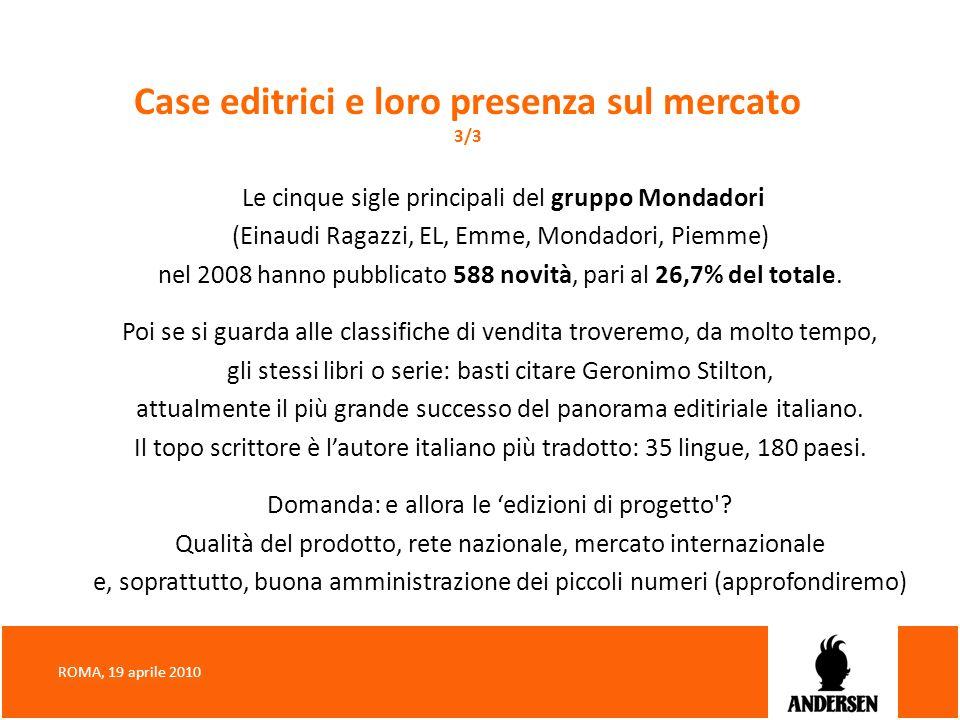 Case editrici e loro presenza sul mercato 3/3 Le cinque sigle principali del gruppo Mondadori (Einaudi Ragazzi, EL, Emme, Mondadori, Piemme) nel 2008