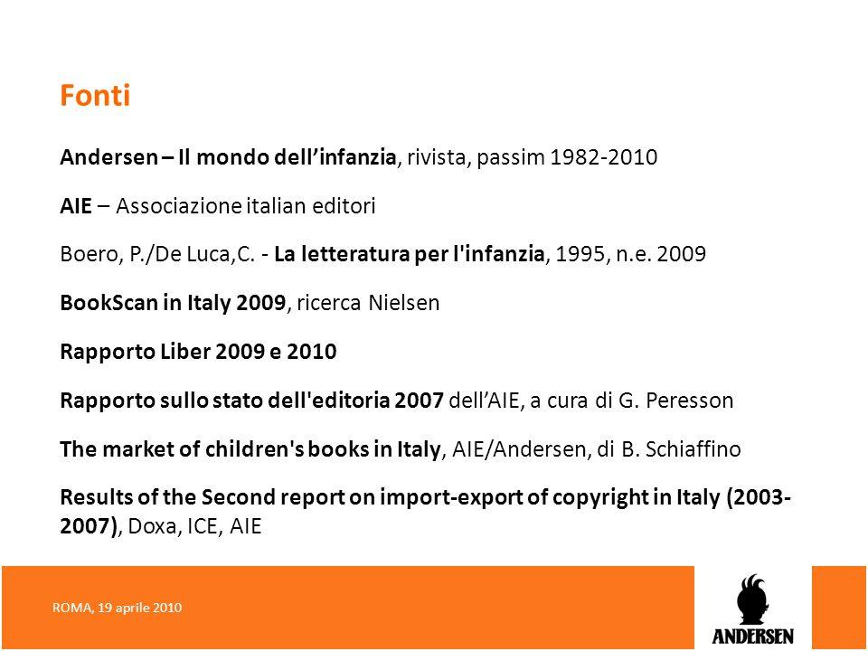 Fonti Andersen – Il mondo dellinfanzia, rivista, passim 1982-2010 AIE – Associazione italian editori Boero, P./De Luca,C. - La letteratura per l'infan