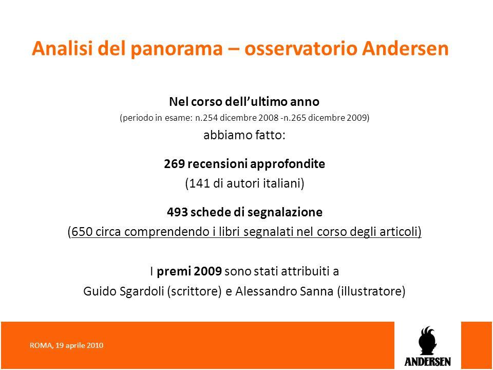 Analisi del panorama – osservatorio Andersen Nel corso dellultimo anno (periodo in esame: n.254 dicembre 2008 -n.265 dicembre 2009) abbiamo fatto: 269