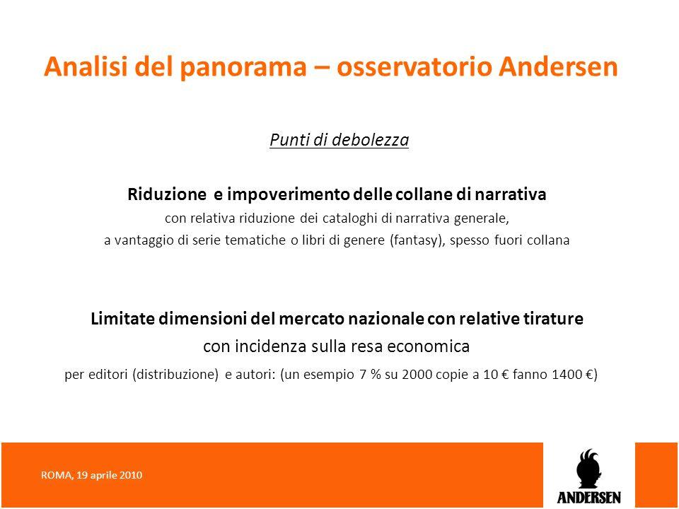 Analisi del panorama – osservatorio Andersen Punti di debolezza Riduzione e impoverimento delle collane di narrativa con relativa riduzione dei catalo