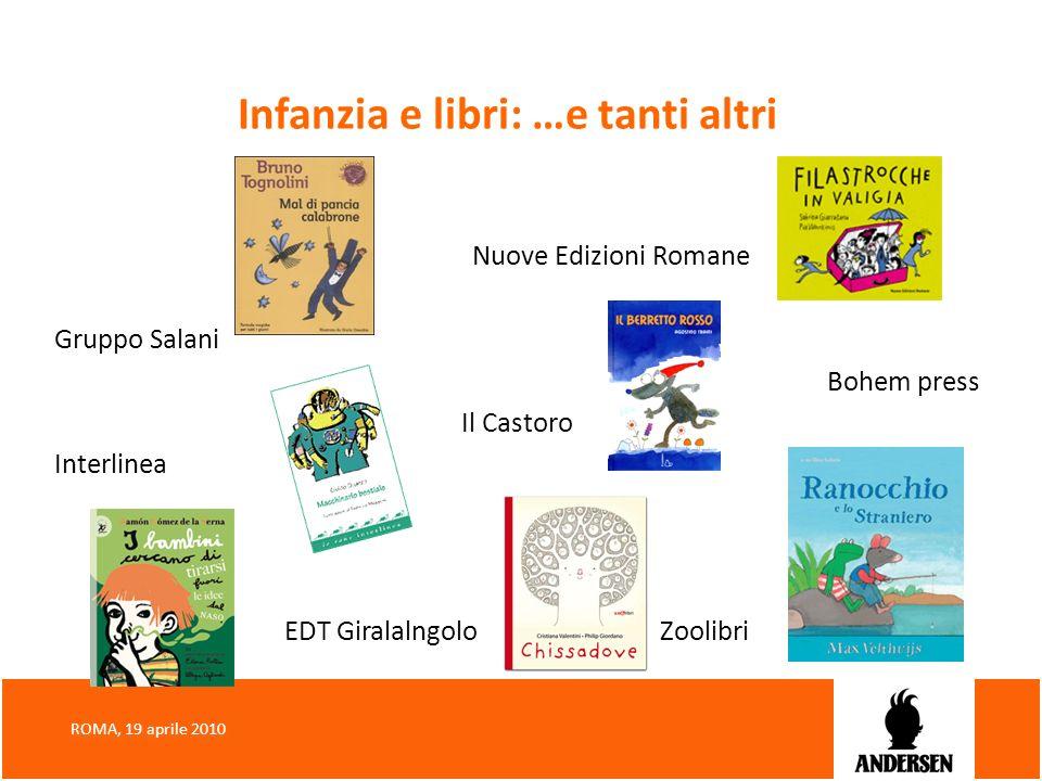 Infanzia e libri: …e tanti altri Nuove Edizioni Romane Gruppo Salani Bohem press Il Castoro Interlinea EDT Giralalngolo Zoolibri ROMA, 19 aprile 2010