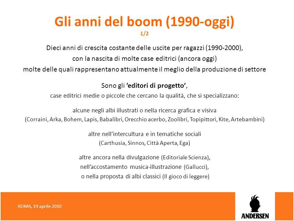 Gli anni del boom (1990-oggi) 1/2 Dieci anni di crescita costante delle uscite per ragazzi (1990-2000), con la nascita di molte case editrici (ancora