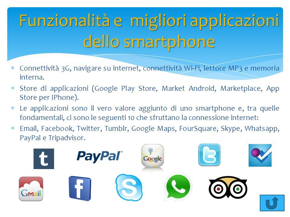 Connettività 3G, navigare su internet, connettività Wi-Fi, lettore MP3 e memoria interna. Store di applicazioni (Google Play Store, Market Android, Ma