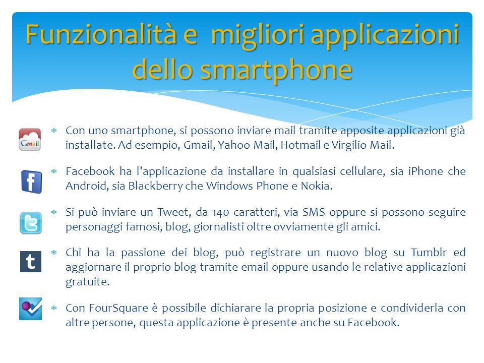 Con uno smartphone, si possono inviare mail tramite apposite applicazioni già installate. Ad esempio, Gmail, Yahoo Mail, Hotmail e Virgilio Mail. Face