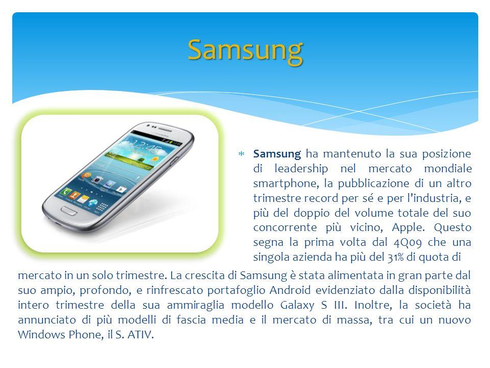 Samsung Samsung ha mantenuto la sua posizione di leadership nel mercato mondiale smartphone, la pubblicazione di un altro trimestre record per sé e pe