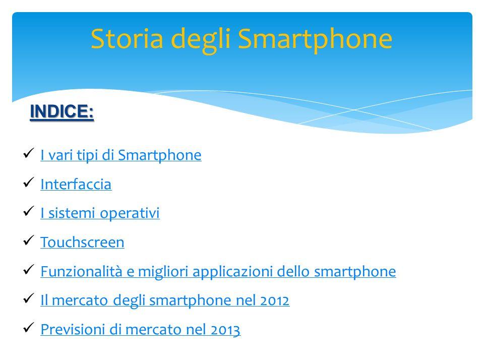 INDICE: I vari tipi di Smartphone Interfaccia I sistemi operativi Touchscreen Funzionalità e migliori applicazioni dello smartphone Il mercato degli s