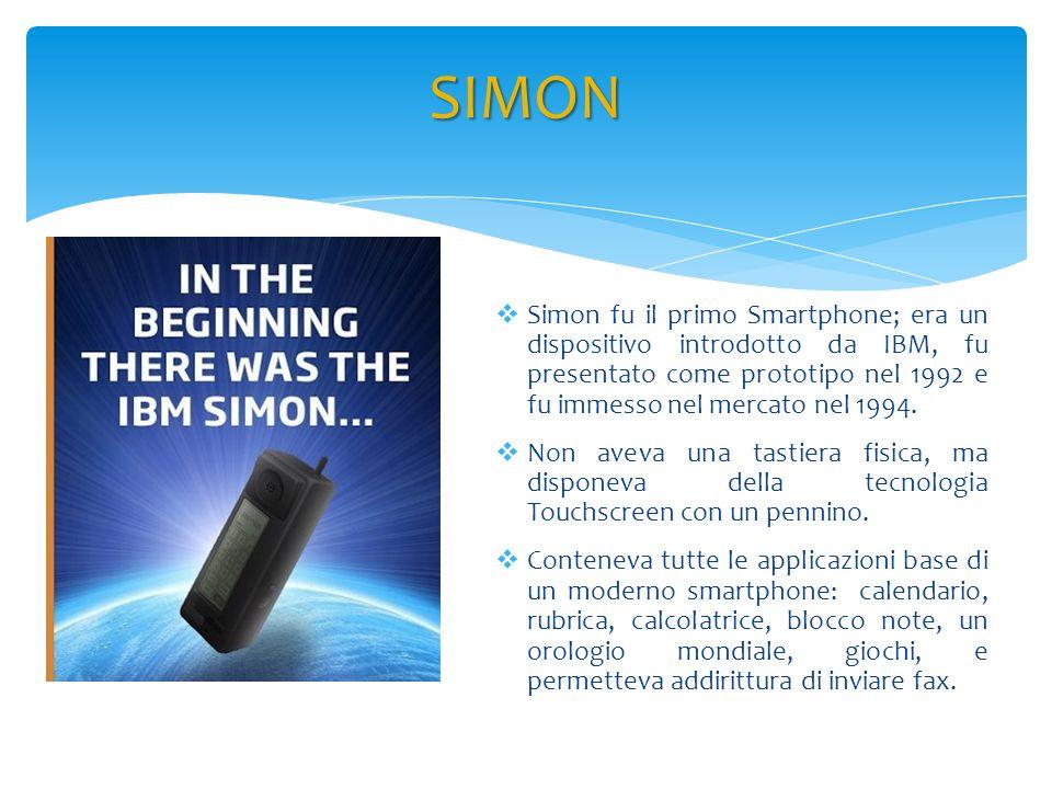 Simon fu il primo Smartphone; era un dispositivo introdotto da IBM, fu presentato come prototipo nel 1992 e fu immesso nel mercato nel 1994. Non aveva