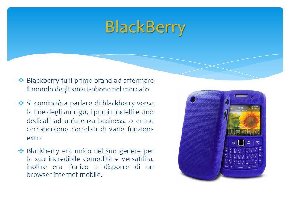 Blackberry fu il primo brand ad affermare il mondo degli smart-phone nel mercato. Si cominciò a parlare di blackberry verso la fine degli anni 90, i p