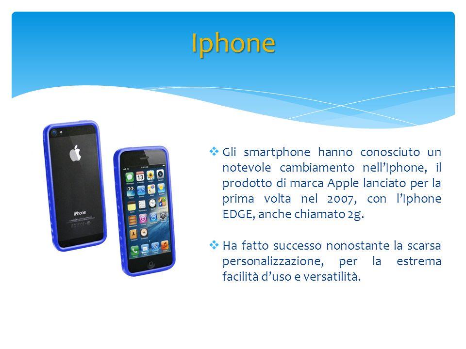 Gli smartphone hanno conosciuto un notevole cambiamento nellIphone, il prodotto di marca Apple lanciato per la prima volta nel 2007, con lIphone EDGE,