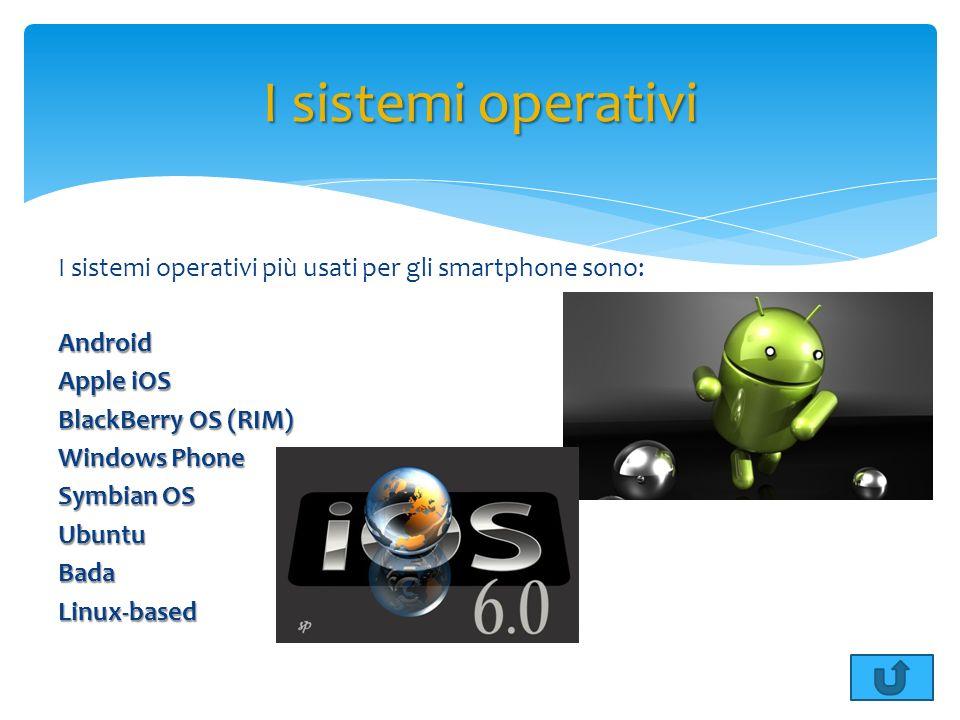 I sistemi operativi più usati per gli smartphone sono:Android Apple iOS BlackBerry OS (RIM) Windows Phone Symbian OS UbuntuBadaLinux-based I sistemi o