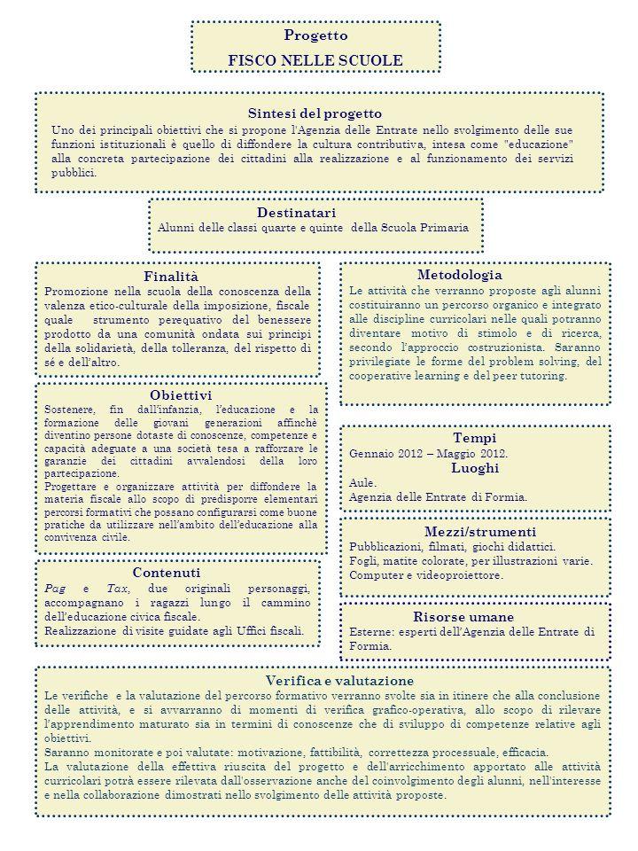 Progetto FISCO NELLE SCUOLE Sintesi del progetto Uno dei principali obiettivi che si propone l'Agenzia delle Entrate nello svolgimento delle sue funzi