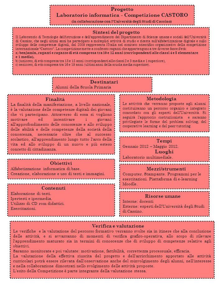 Progetto Laboratorio informatica - Competizione CASTORO (in collaborazione con lUniversità degli Studi di Cassino) Finalità La finalità della manifest