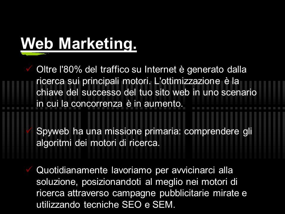 Web Marketing. Oltre l 80% del traffico su Internet è generato dalla ricerca sui principali motori.