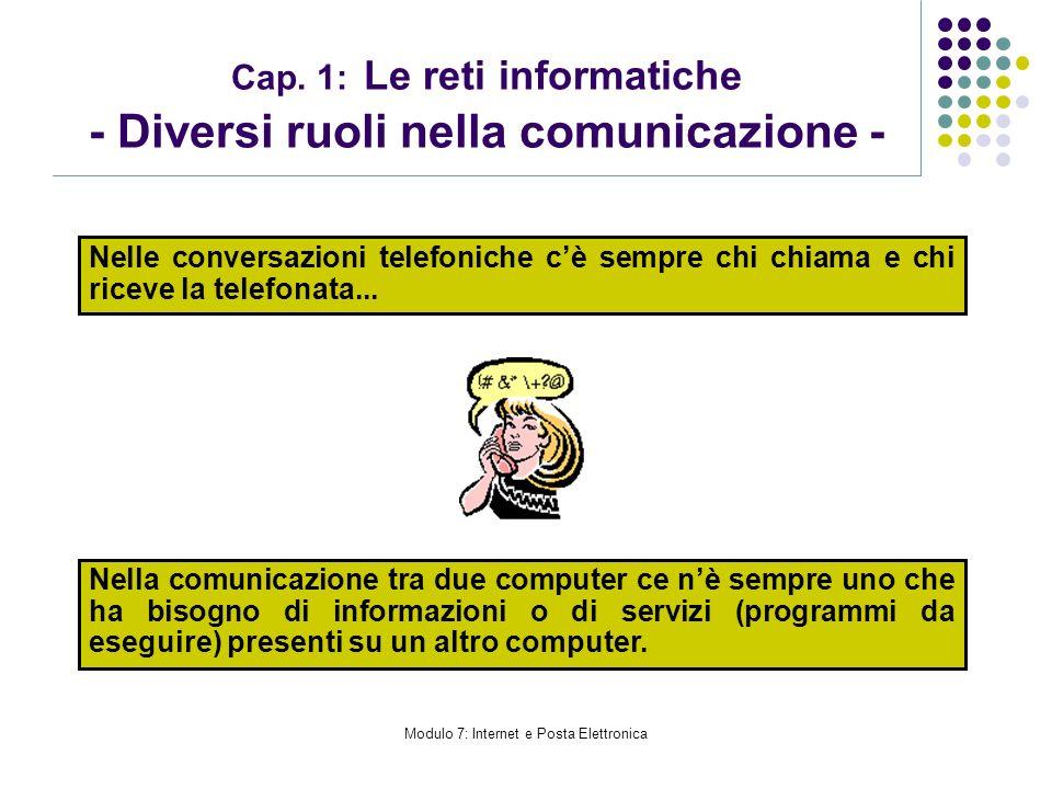 Modulo 7: Internet e Posta Elettronica Cap. 1: Le reti informatiche - Diversi ruoli nella comunicazione - Nelle conversazioni telefoniche cè sempre ch