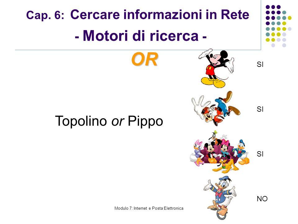 Modulo 7: Internet e Posta Elettronica Cap. 6: Cercare informazioni in Rete - Motori di ricerca - Topolino or Pippo OR SI NO