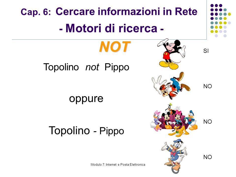 Modulo 7: Internet e Posta Elettronica Cap. 6: Cercare informazioni in Rete - Motori di ricerca - Topolino not Pippo oppure Topolino - Pippo NOT SI NO