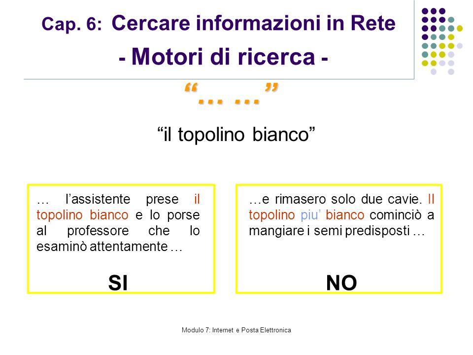 Modulo 7: Internet e Posta Elettronica Cap. 6: Cercare informazioni in Rete - Motori di ricerca - il topolino bianco … … … lassistente prese il topoli