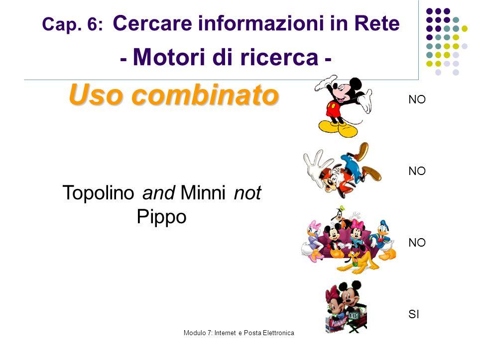 Modulo 7: Internet e Posta Elettronica Cap. 6: Cercare informazioni in Rete - Motori di ricerca - Topolino and Minni not Pippo Uso combinato NO SI