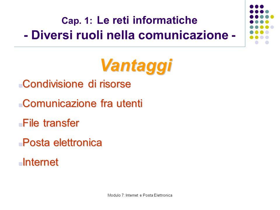 Modulo 7: Internet e Posta Elettronica Cap. 1: Le reti informatiche - Diversi ruoli nella comunicazione - Vantaggi Condivisione di risorse Condivision