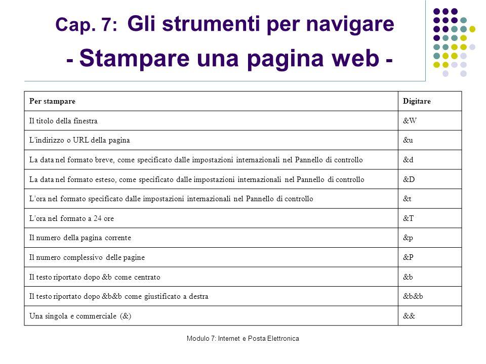 Modulo 7: Internet e Posta Elettronica Cap. 7: Gli strumenti per navigare - Stampare una pagina web - Per stampareDigitare Il titolo della finestra&W