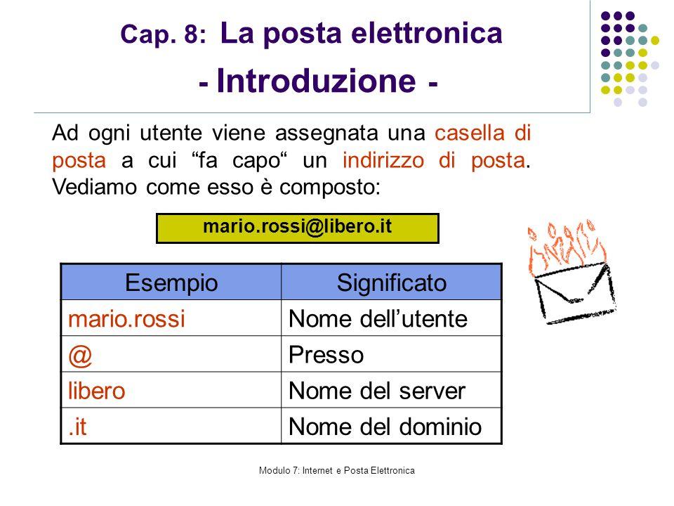 Modulo 7: Internet e Posta Elettronica Cap. 8: La posta elettronica - Introduzione - Ad ogni utente viene assegnata una casella di posta a cui fa capo