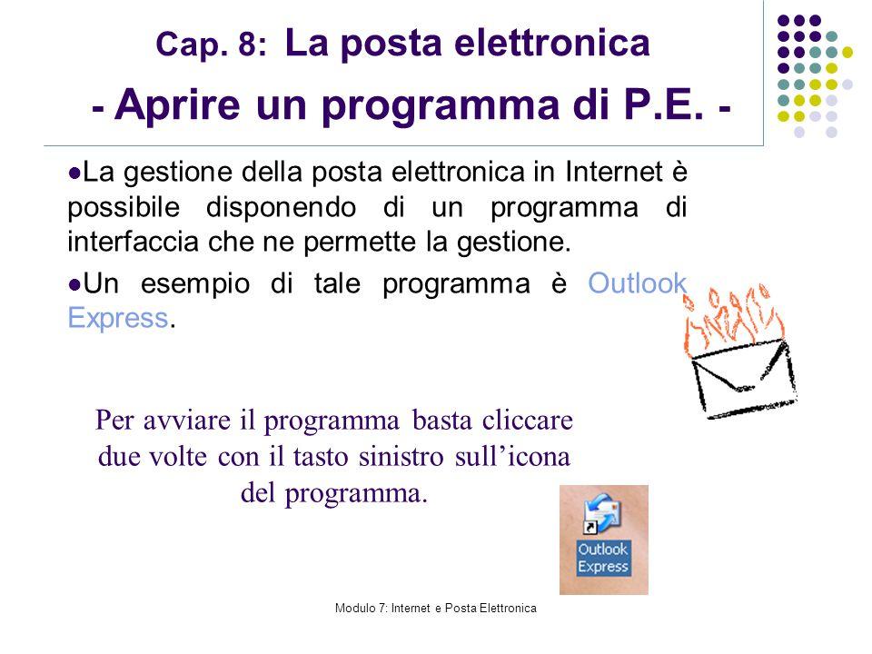 Modulo 7: Internet e Posta Elettronica Cap. 8: La posta elettronica - Aprire un programma di P.E. - La gestione della posta elettronica in Internet è