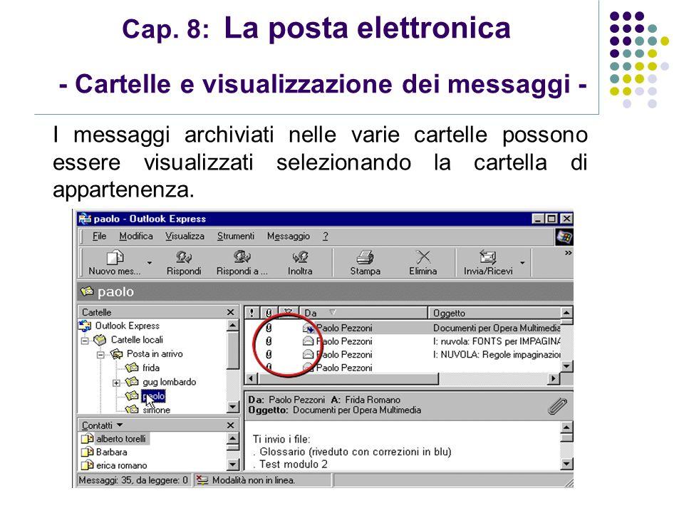 Modulo 7: Internet e Posta Elettronica Cap. 8: La posta elettronica - Cartelle e visualizzazione dei messaggi - I messaggi archiviati nelle varie cart
