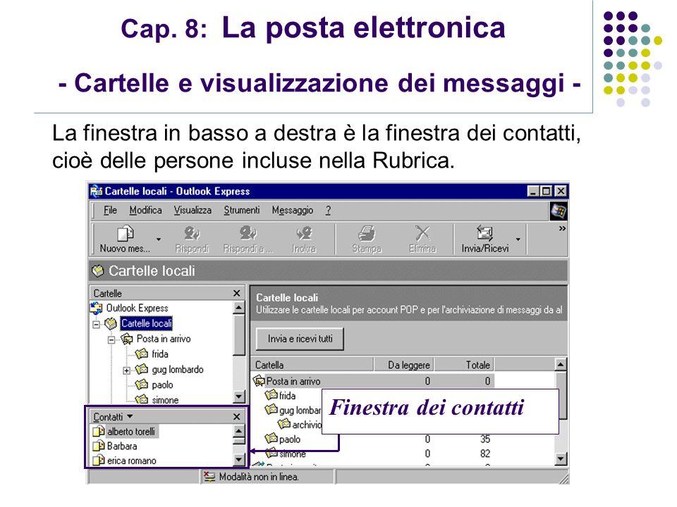Modulo 7: Internet e Posta Elettronica Cap. 8: La posta elettronica - Cartelle e visualizzazione dei messaggi - La finestra in basso a destra è la fin