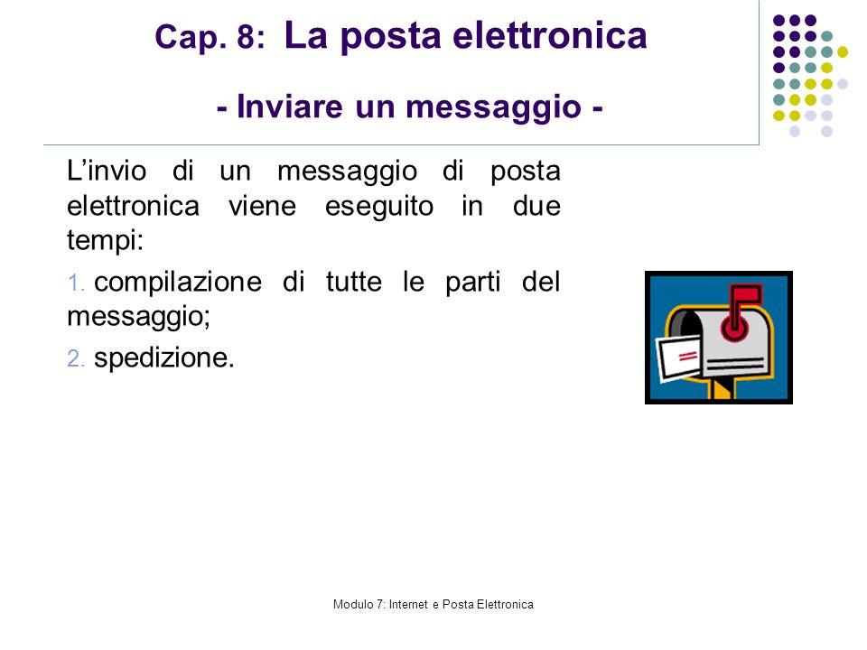 Modulo 7: Internet e Posta Elettronica Cap. 8: La posta elettronica - Inviare un messaggio - Linvio di un messaggio di posta elettronica viene eseguit