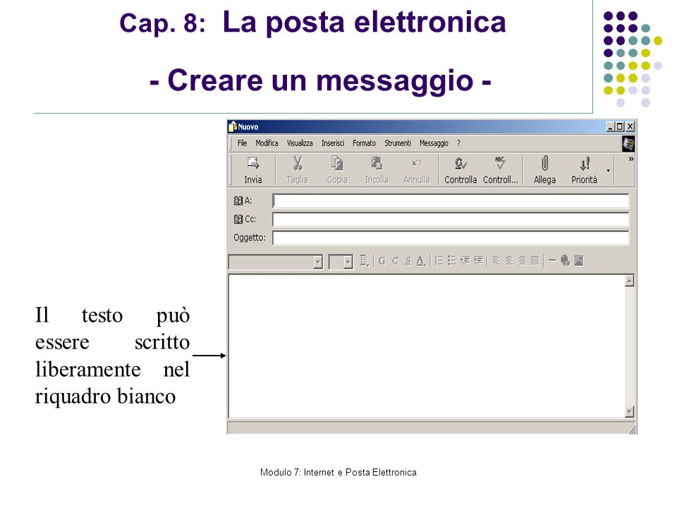 Modulo 7: Internet e Posta Elettronica Cap. 8: La posta elettronica - Creare un messaggio - Il testo può essere scritto liberamente nel riquadro bianc