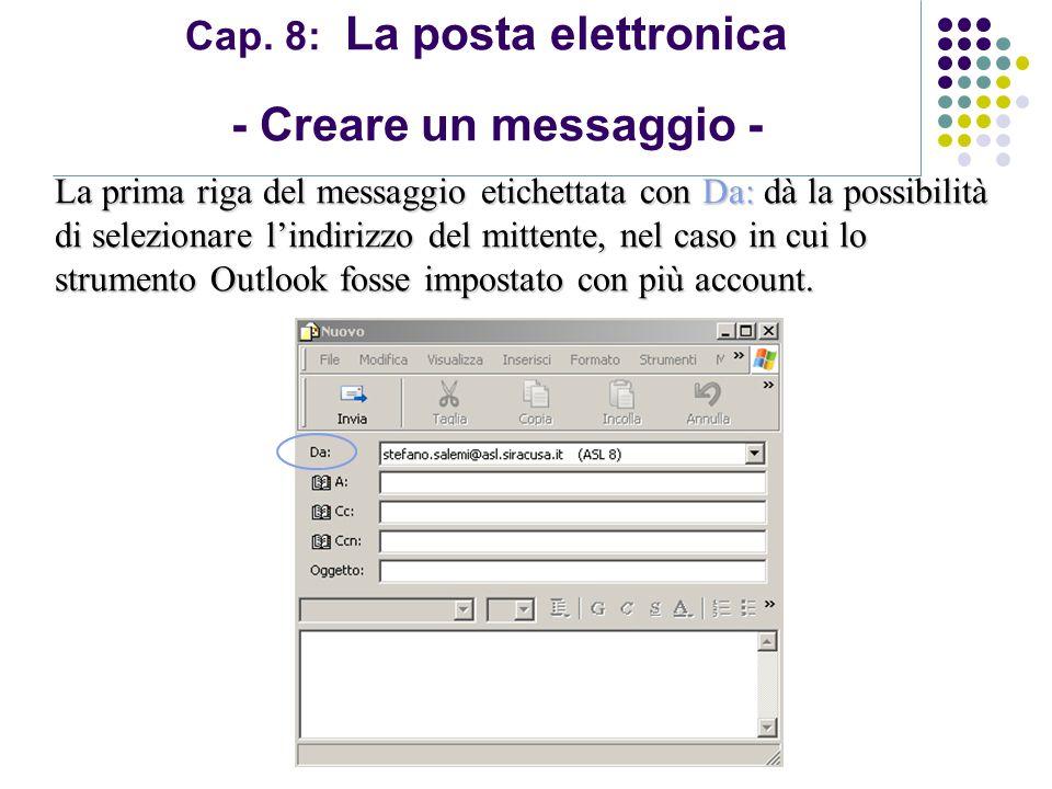 Modulo 7: Internet e Posta Elettronica Cap. 8: La posta elettronica - Creare un messaggio - La prima riga del messaggio etichettata con Da: dà la poss
