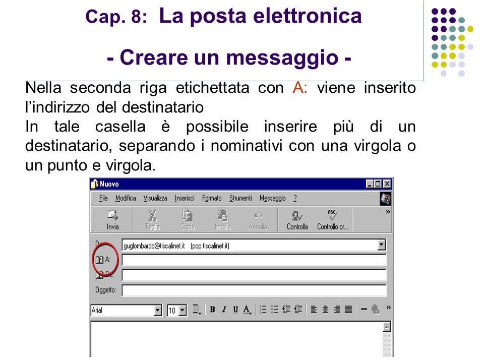 Modulo 7: Internet e Posta Elettronica Cap. 8: La posta elettronica - Creare un messaggio - Nella seconda riga etichettata con A: viene inserito lindi