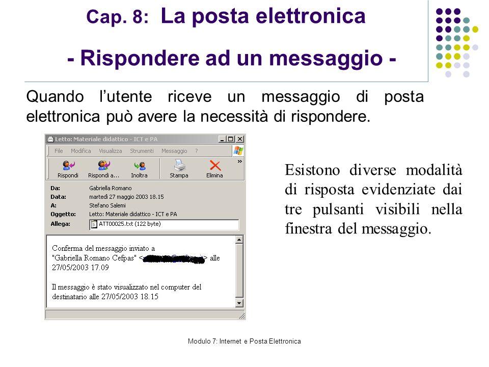 Modulo 7: Internet e Posta Elettronica Cap. 8: La posta elettronica - Rispondere ad un messaggio - Quando lutente riceve un messaggio di posta elettro