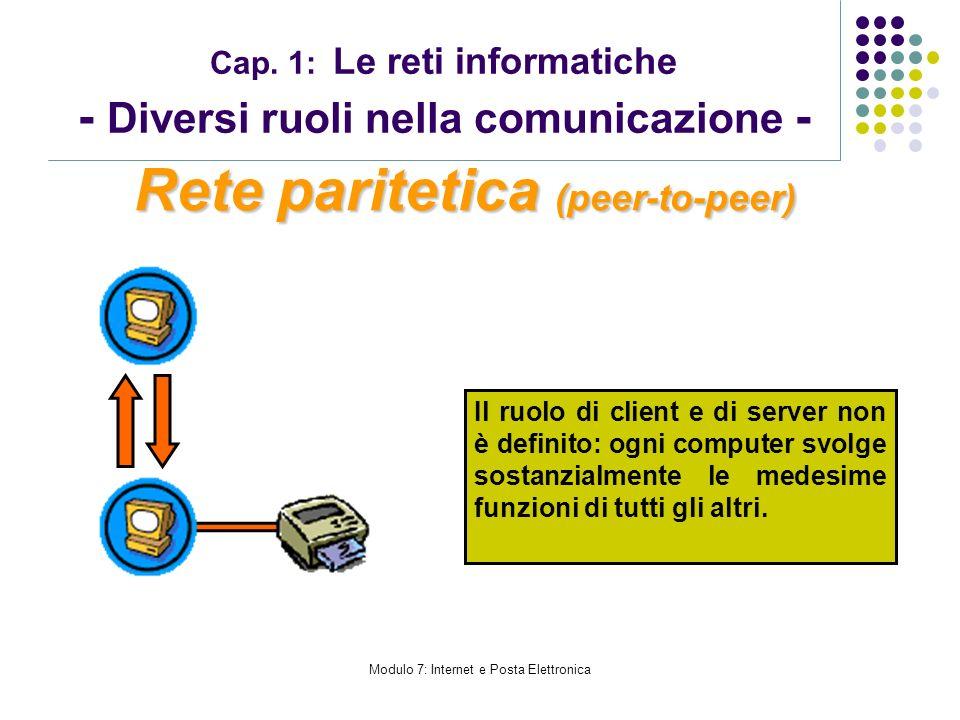 Modulo 7: Internet e Posta Elettronica Cap. 1: Le reti informatiche - Diversi ruoli nella comunicazione - Rete paritetica (peer-to-peer) Il ruolo di c