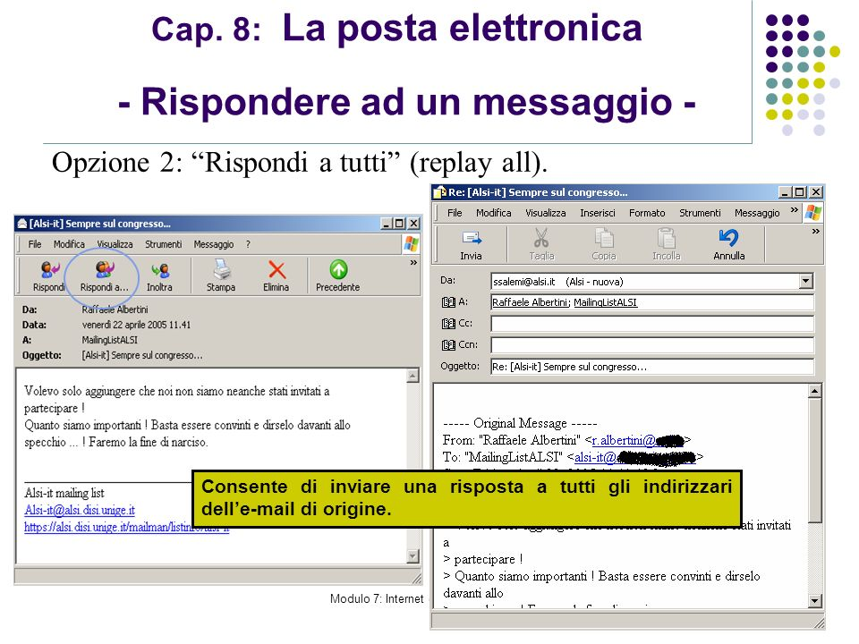 Modulo 7: Internet e Posta Elettronica Cap. 8: La posta elettronica - Rispondere ad un messaggio - Opzione 2: Rispondi a tutti (replay all). Consente