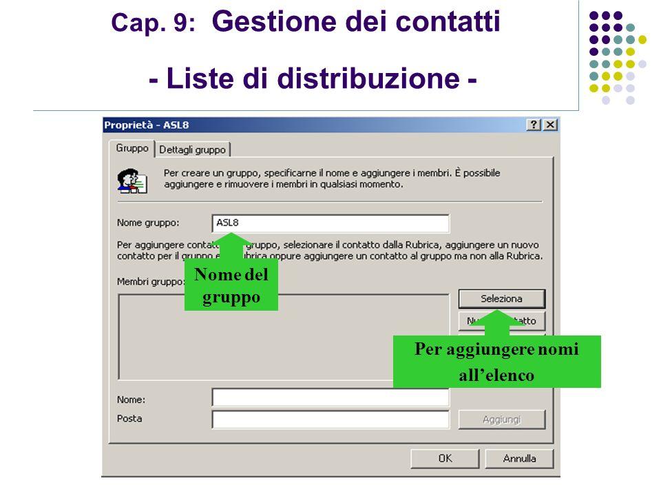 Modulo 7: Internet e Posta Elettronica Cap. 9: Gestione dei contatti - Liste di distribuzione - Nome del gruppo Per aggiungere nomi allelenco