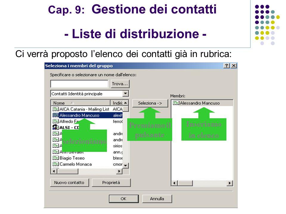 Modulo 7: Internet e Posta Elettronica Cap. 9: Gestione dei contatti - Liste di distribuzione - selezioniamo Ci verrà proposto lelenco dei contatti gi
